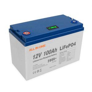 Wszystko w jednym gorąca sprzedaż energia słoneczna bateria litowa oprogramowanie do przechowywania kontrola BMS akumulator głęboki cykl 12V 100Ah akumulator LiFePO4