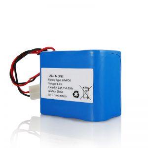 6,4 V 12 Ah LiFePO4 Naładuj akumulator litowy 26650 32650 ze złączem do światła słonecznego